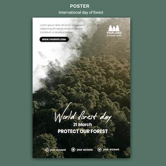 Modèle d'affiche de la journée mondiale de la forêt