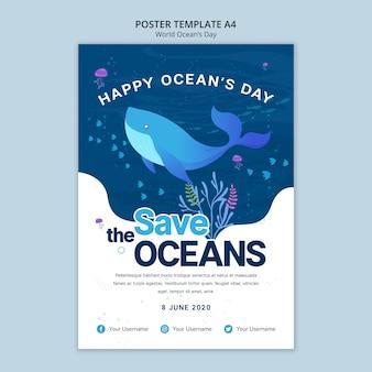 Modèle d'affiche avec la journée mondiale de l'océan