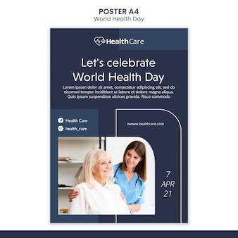 Modèle d'affiche de la journée mondiale de la santé avec photo