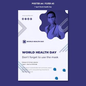 Modèle d'affiche de la journée mondiale de la santé