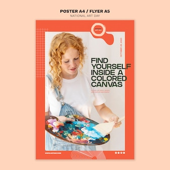Modèle d'affiche de la journée nationale de l'art avec photo