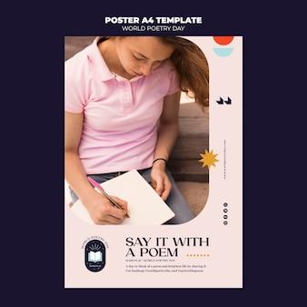 Modèle d'affiche de la journée de la poésie