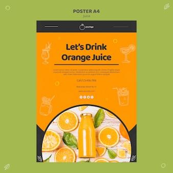 Modèle d'affiche de jus d'orange
