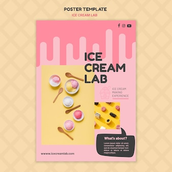 Modèle d'affiche de laboratoire de crème glacée