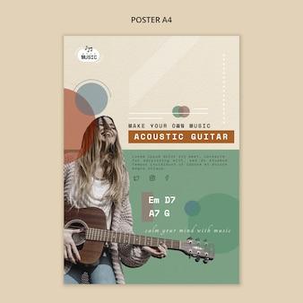 Modèle d'affiche de leçons de guitare acoustique