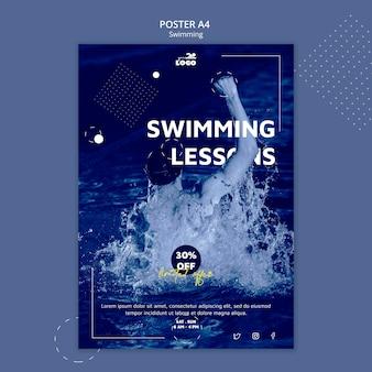 Modèle d'affiche de leçons de natation avec photo