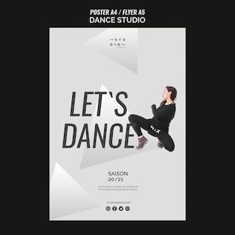 Modèle d'affiche let's dance studio dance
