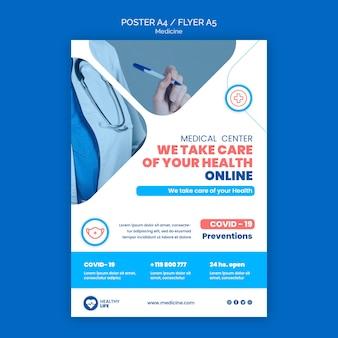 Modèle d'affiche en ligne de médecine