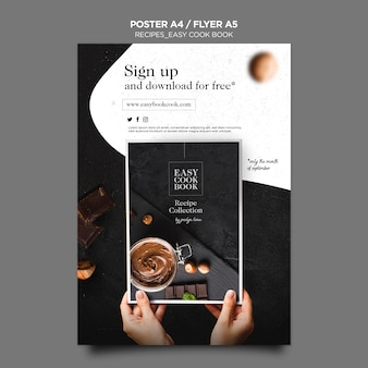 Modèle d'affiche de livre de cuisine