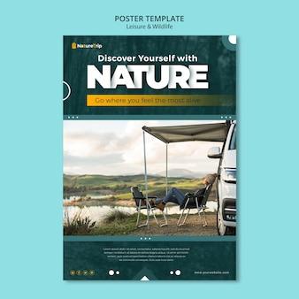 Modèle d'affiche sur les loisirs et la faune