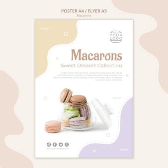 Modèle d'affiche macarons en pot