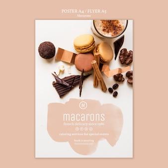 Modèle d'affiche de macarons