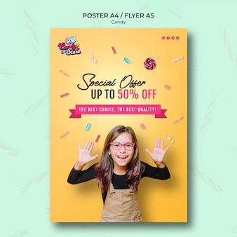 Modèle d'affiche de magasin de bonbons offre spéciale