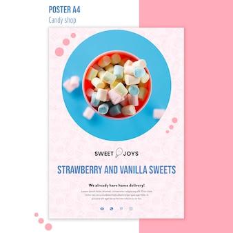 Modèle d'affiche de magasin de bonbons avec photo