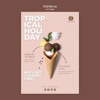 Modèle d'affiche de magasin de crème glacée