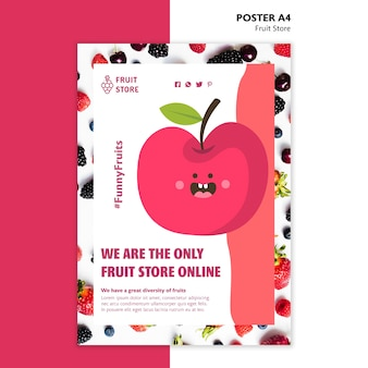 Modèle d'affiche de magasin de fruits