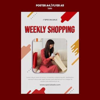 Modèle d'affiche de magasinage hebdomadaire