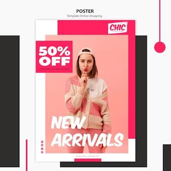 Modèle d'affiche de magasinage en ligne