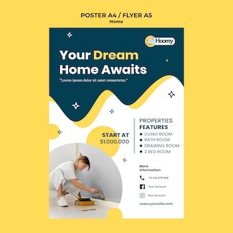 Modèle d'affiche de maison de rêve