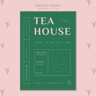 Modèle d'affiche maison de thé matcha