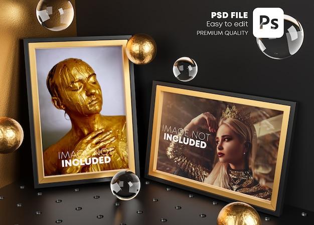 Modèle d'affiche maquette élégante de deux cadres dorés dans la chambre d'angle.