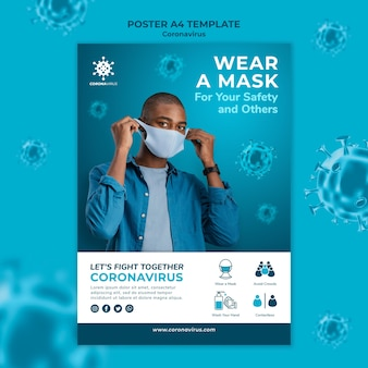 Modèle d'affiche de masque facial de coronavirus