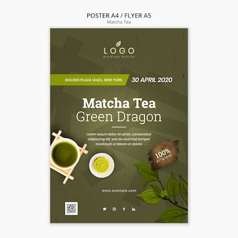Modèle d'affiche matcha tea a4