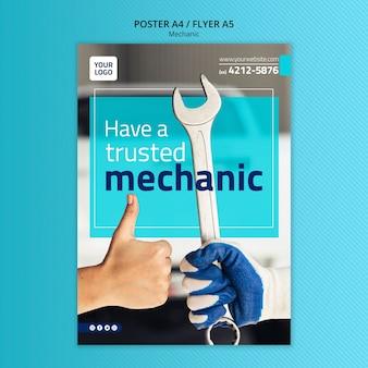 Modèle d'affiche de mécanicien avec photo