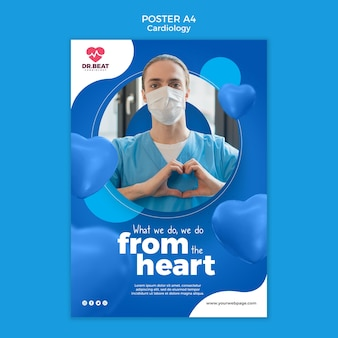 Modèle d'affiche de médecin de cardiologie portant un masque