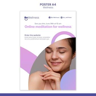 Modèle d'affiche de méditation en ligne