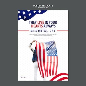 Modèle d'affiche de memorial day concept