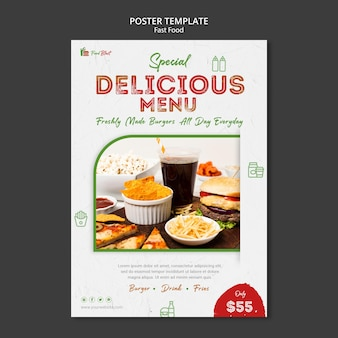 Modèle d'affiche de menu de nourriture délicieuse