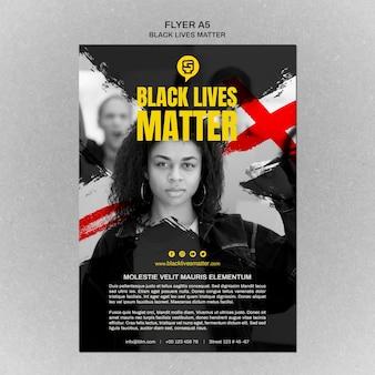 Modèle d'affiche minimaliste de la vie noire avec photo