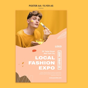 Modèle d'affiche de mode masculine expo locale