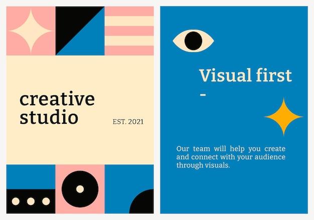 Modèle d'affiche modifiable psd bauhaus inspiré texte de studio créatif design plat