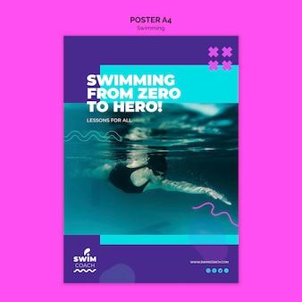 Modèle d'affiche de nageur professionnel