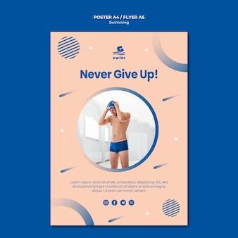 Modèle d'affiche de ne jamais abandonner la natation