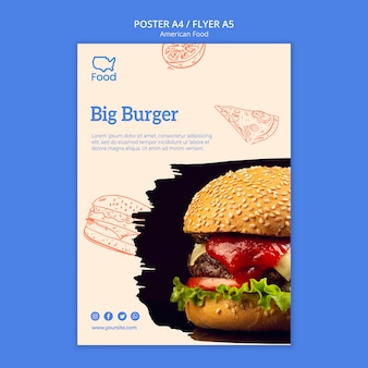 Modèle d'affiche avec de la nourriture américaine