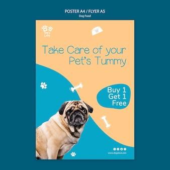 Modèle d'affiche avec de la nourriture pour chiens