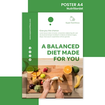 Modèle d'affiche nutritionniste avec photo