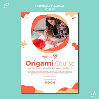Modèle d'affiche origami