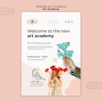 Modèle d'affiche d'ouverture de l'académie des arts