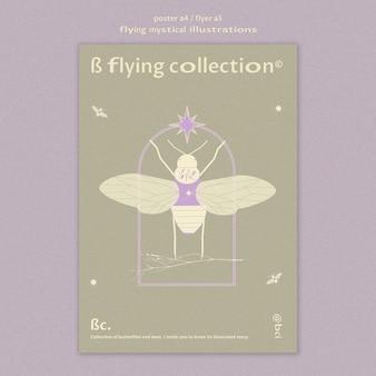 Modèle d'affiche papillon mystique volant
