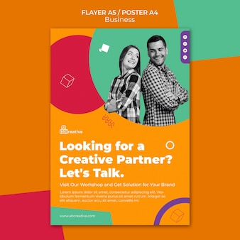 Modèle d'affiche de partenaire commercial créatif