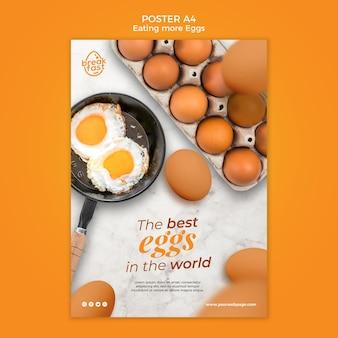 Modèle d'affiche de petit-déjeuner avec des oeufs