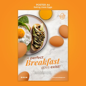 Modèle d'affiche de petit-déjeuner parfait avec des œufs