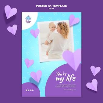 Modèle d'affiche photo bébé
