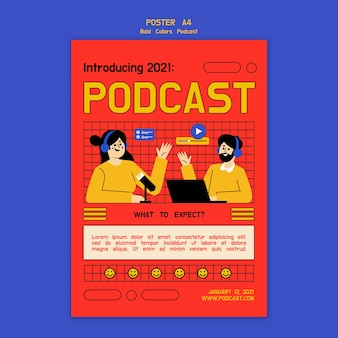 Modèle d'affiche de podcast illustré