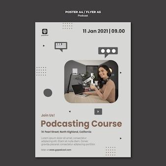 Modèle d'affiche de podcast avec photo
