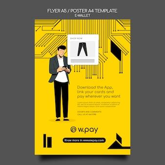Modèle d'affiche de portefeuille électronique